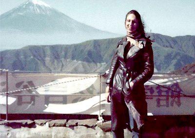 Qantas slip time in Japan, with Mt Fuji.