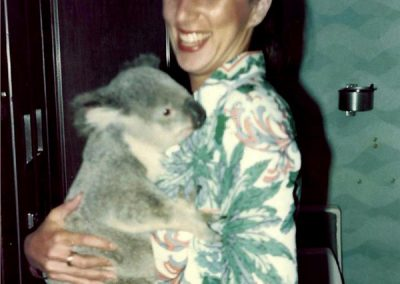 Qantas flight hostess with her most favorite passenger.