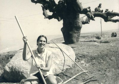 Working on the garden, at Kibbutz Mevo Chama, in the Golan Heights, in Israel.