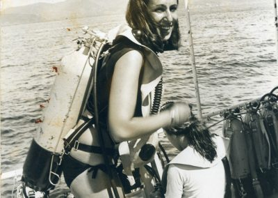 Scuba Diving in the waters off Martinque, in the Caribbean, early 1970's.