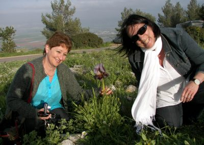 Janet and Jeannie on Mt Gilboa with a rare black Iris